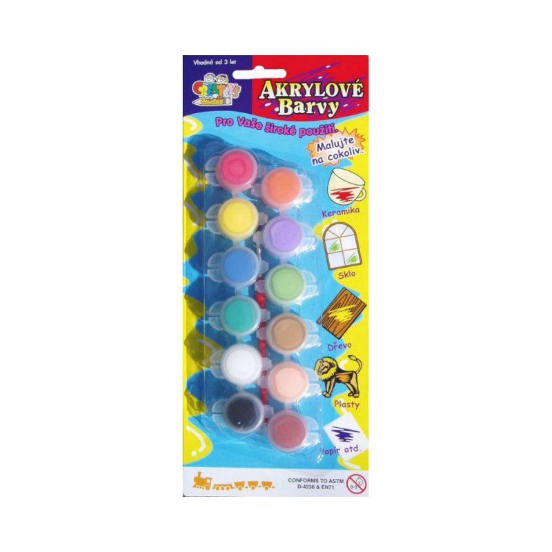 akrylové barvy 12 ks